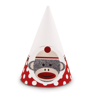 Party Destination Sock Monkey Red - Cone Hats (8)