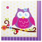 Owl Blossom Lunch Napkins Purple/YellowCount