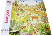 Last Oasis by Charles Lynn Bragg - 1000 Piece Puzzle - Cute Desert Scene Featuring Various Plants and Animals Including Birds, Butterflies, Lizards, Fox, Deer, Rabbit, Cactus, Raccoon, Turtle and Many Others