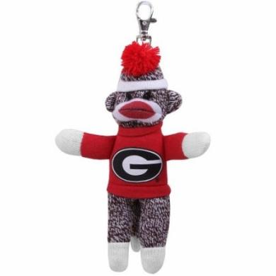 Plushland College UGA Georgia Bulldogs Sock Monkey Key Chain