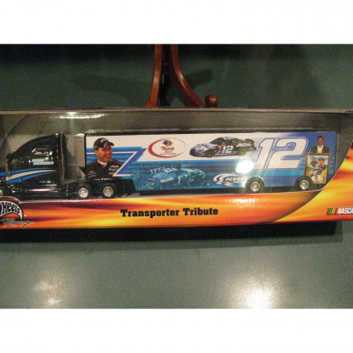 Ryan Newman Alltel #12 Rookie of the Year Hauler Trailer Transporter Rig Semi Tractor Truck Hotwheels Hot Wheels 1/64 Scale Metal Cab/Tractor, Plastic Trailer With 2002 Rookie of the Year Highlight Statistics on Top Of Hauler