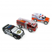 3-in-1 Emergency Vehicle Toy PlaySet for Kids w/ Lights and Sounds