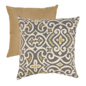 Pillow Perfect 475080 Grey and Greenish-Yellow Damask 45.7cm Throw Pillow