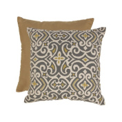 Pillow Perfect 475103 Grey and Greenish-Yellow Damask 58.4cm Floor Pillow