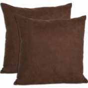 Cosy Quarters Inc Chocolate Microsuede Throw Pillows (Set of 2) (Microsuede Decoration Throw Pillow - Chocolate