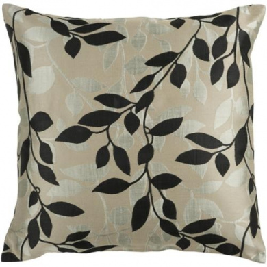 46cm Feather Grey and Caviar Early Morning Foliage Decorative Throw Pillow