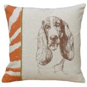 123 Creations CS014P-BR Screen print pillow - Basset Hound