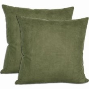 Cosy Quarters Inc Green Microsuede Throw Pillows (Set of 2) (Microsuede Throw Pillow - Green