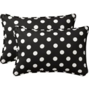 Pillow Perfect 386966 Decorative Black/White Polka Dot Toss Pillow Rectangle , Set of Two