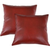 Chooty and Company Red Faux Leather Accent Pillows (Set of 2) (Red Feather Down Accent Pillows