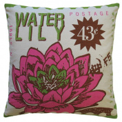 Koko Company 91689 Postage- Pillow- 20X20- Cotton- Waterlily Print.