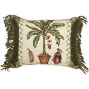 123 Creations Banana Tree 100% Wool Needlepoint Pillow with Fabric Trimmed