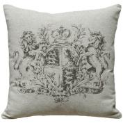 123 Creations Crest 100% Linen Screen Print Pillow