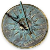 Rome Industries 2370 Brass Sunrise Sunset Dial - Brass with Verdigris