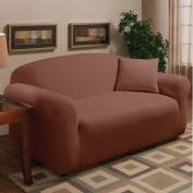 Madison Home Stretch Microfleece Loveseat Slipcover in Burgundy