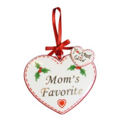 """Avon """"Youngest Child Mom's Favourite"""" Porcelain Heart Christmas Ornament"""
