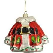 Raz Christmas Brites Holly Berry Santa Claus Coat Glass Ornament