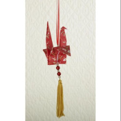 Asian Fusion Red Glitter Origami Dove with Gold Tassels Christmas Ornament 19cm
