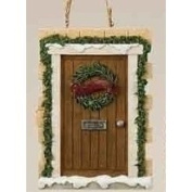 Christmas Garden All Roads Lead Home Brown Door Ornament with Wreath