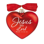 Jesus My Lord Hand-Blown Glass Ornament with Satin Ribbon