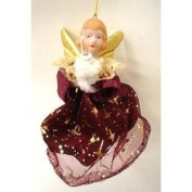 Commodore Burgundy & Gold Lighted Christmas Angel Ornament 12.7cm #28261C