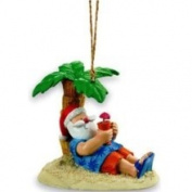Cape Shore Santa Tropical Island Beach Palm Christmas Ornament