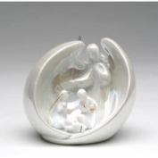 Stealstreet Festive White Porcelain Angel Over Holy Family Decorative Ornament