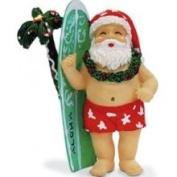 Buns of Maui Hawaiian Christmas Ornament Surfboard Santa