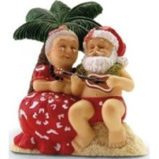 Buns of Maui Hawaiian Christmas Ornament Serenading Santa