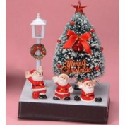 Stealstreet 5.5 Height Small Fibre Optic Xmas Tree - Red Bow 3 Santas