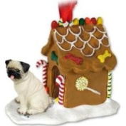 Eyedeal Figurines Fawn Pug Dogs Gingerbread House Christmas Ornament