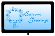 Christmas Solar Sign, Seasons Greetings LED, with Battery, 11 x 6 x