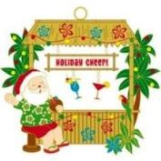 Buns of Maui Hawaiian Metal Christmas Ornament Tiki Bar Santa