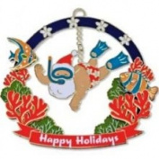 Buns of Maui Hawaiian Metal Christmas Ornament Snorkelling Santa