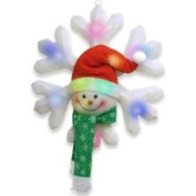 Battery Operated Lighted LED Snowman with Green Scarf Snowflake Christmas Decor