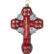 CC Home Furnishings Religious Baptist Cross Polonaise Christmas Ornament Red & Green