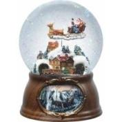 17.8cm Musical Rotating Santa Claus with Train Christmas Snow Globe Glitte