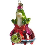 Patience Brewster Frog on A Ladybug Glass Ornament
