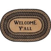 Farmhouse Star Jute Rug Brd Oval Stencil Welcome Y'all 20x30