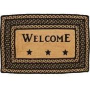Farmhouse Star Jute Rug Braided; Rectangle Stencil Welcome