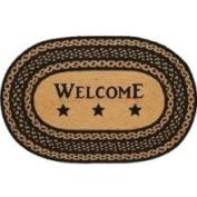Farmhouse Star Jute Rug Braided; Oval Stencil Welcome