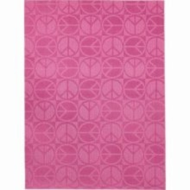 Area Rug: Large Peace Pink 5' x 7'