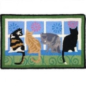 Cats Kitties in the Window 50cm x 80cm Accent Area Rug Jellybean