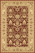 La Rug 8603-30 Ziggler Area Rug with Cream and Dark Red Rich Warm Hues