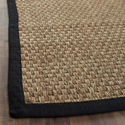 Safavieh Natural Fibre Collection NF114C Basketweave Natural and Black Seagrass Area Rug