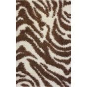Ameritu Trading Shag Plush Zebra Brown Rug