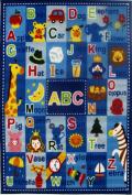 Fun Rugs Letters and Names Kids' Rug, Blue, 0.9m x 0m7.6cm x 0.9m x 0m25cm