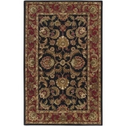 Surya A108-1616 Ancient Treasures Rug- 100% Semi-Worsted New Zealand- Hand Tufted- Black/Red/Gold/Tan/Moss Green/Beige- 1'6''X1'6''