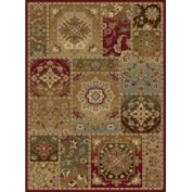 TayseRugs Impressions Red Multi Eclectic Pendants Rug Rug Size