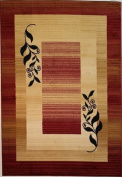 Ameritu Trading Casual Red/ Beige Border Rug